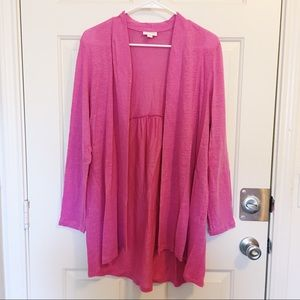 •J Jill• pink love linen long cardigan